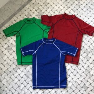 Set of three rash guard swim shirts, size 7